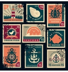 stamps on seafood restaurants vector image