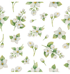 watercolor seamless pattern of flowers and vector image