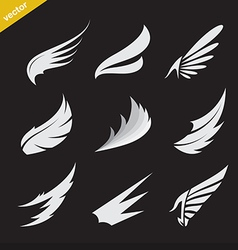 white wing icons set vector image