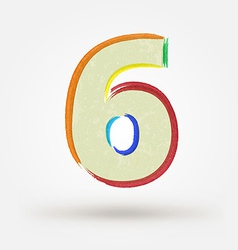 Alphabet letter number six Watercolor paint design vector image