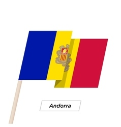 Andorra Ribbon Waving Flag Isolated on White vector image