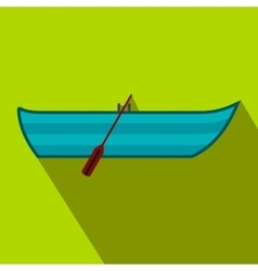 Boat with paddles flat icon vector image vector image