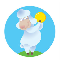 cartoon sheep holding gold coin vector image vector image
