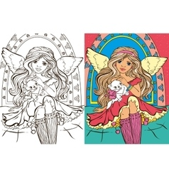 Colouring Book Of Angel Girl With Cat vector image vector image