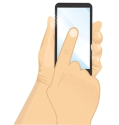 male hand holding a black vertical smartphone vector image