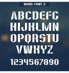 Stencil plate font Nord vector image