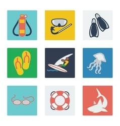 Summer vacation flat icons set vector image vector image