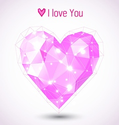 Triangle pink heart vector image vector image