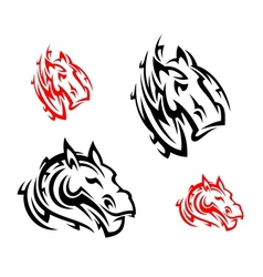 Tribal horses tattoos vector image vector image