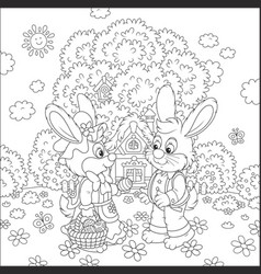 bunnies on easter sunday vector image vector image