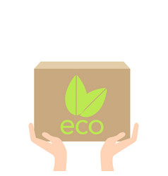 eco box in hand ecology concept vector image vector image