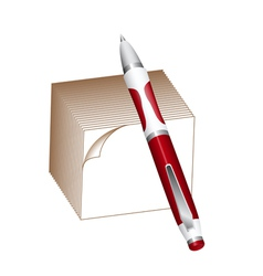 Pen and note block vector image