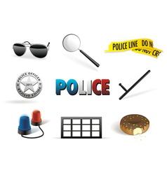police order icon set vector image vector image