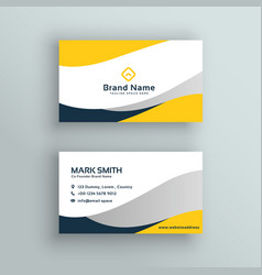 Abstract modern yellow business card vector