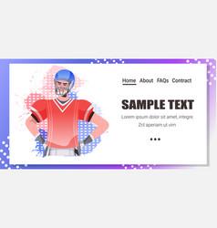 american football player holding usa flag vector image