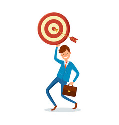 arrow achieved target happy businessman vector image
