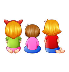 Back view of little three girl sitting together vector