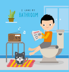 Bathroom toilet home boy cartoon vector