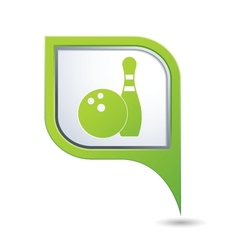 Bowling icon on green map pointer vector
