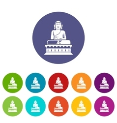 Buddha statue set icons vector