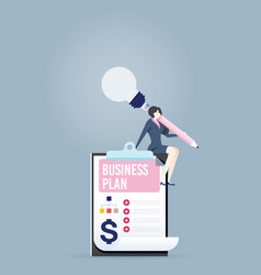 Businesswoman create a business plan - business vector