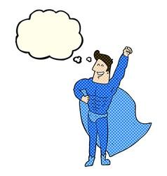 Cartoon superhero with thought bubble vector