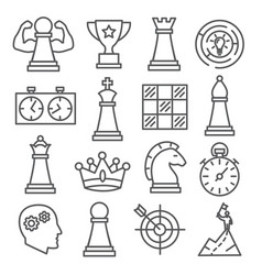 chess line icons set on white background vector image