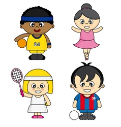 Children dressed as athletes vector image