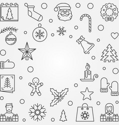 christmas and new year outline frame vector image