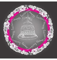 Christmas mandala with bells handwritten words vector image