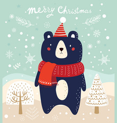 Christmas with bear and trees in cart vector