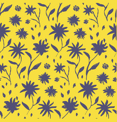 Contrast yellow hand drawn ink flowers pattern vector