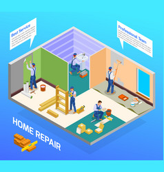 craftsman repairman isometric composition vector image