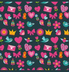 cute birds heart flower envelope bow crown vector image