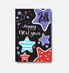 cute happy new year 2018 card doodle design winter vector image