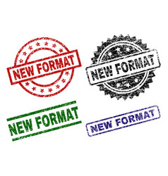 Damaged textured new format seal stamps vector