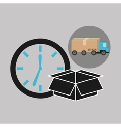 Delivery truck concept box and clock icon vector