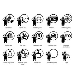 different type laws icons depict field and vector image