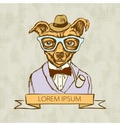dog hipster with tattoo dressed up vector image