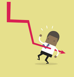 down graph fall to african businessman vector image