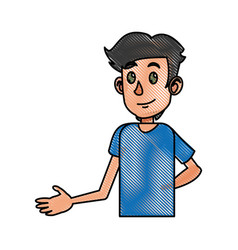 Drawing young boy teen male image vector