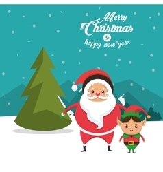 Elf and santa cartoon of Christmas design vector