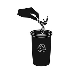 Emission of banana peel into the garbage can for vector