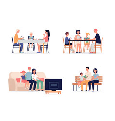 family recreation at home characters flat vector image