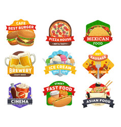 Fast food icons burgers sandwiches restaurant vector