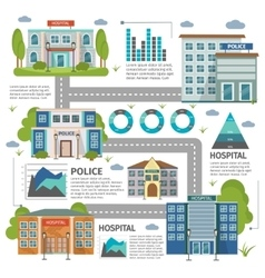Flat buildings infographic vector