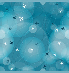 Flying aircrafts seamless background vector