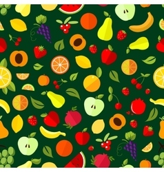Fresh berry and fruit seamless pattern vector image