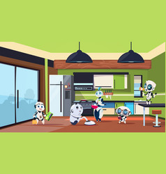group of robots housekeepers cleaning kitchen room vector image