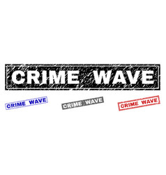 grunge crime wave scratched rectangle watermarks vector image